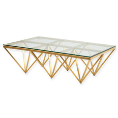 Tafari 1.2m Coffee Table - Glass Top - Brushed Gold Base