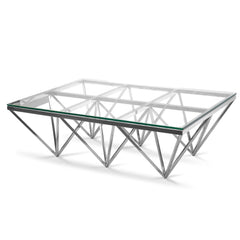 Tafari 1.2m Coffee Table - Glass Top - Silver Steel Base