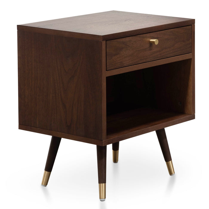 Tasha Wooden Bedside Table - Walnut