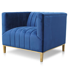 Taylor Armchair in Blue Velvet - Brushed Gold Base