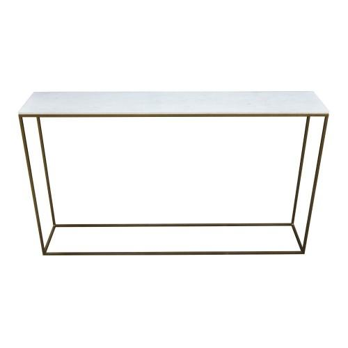 Terra Brass Console Table - White Marble