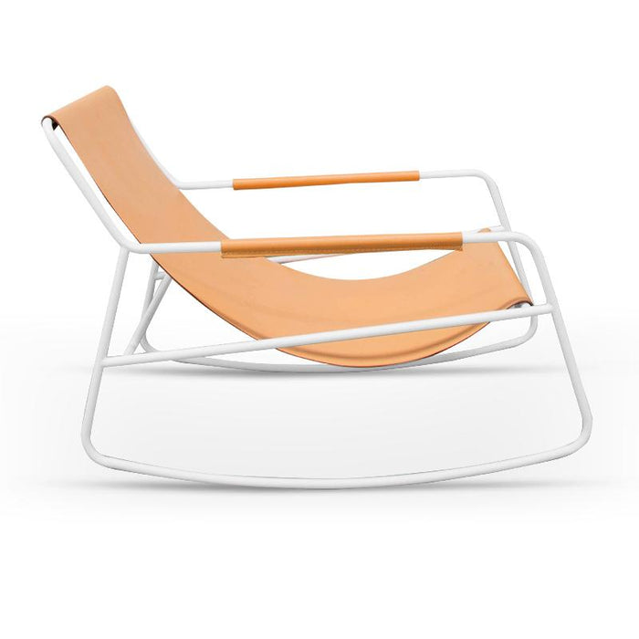 Terry Leather Rocking Chair With White Frame