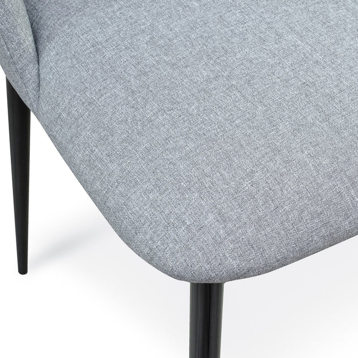 Tisha Light Grey Fabric Dining Chair - Black Legs