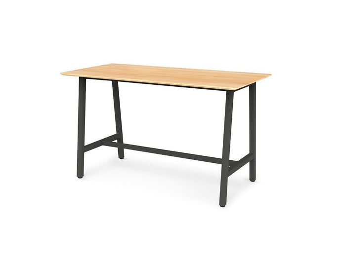 Trestle 1.8m Rectangular Solid Timber Top Bar Table - Black Frame