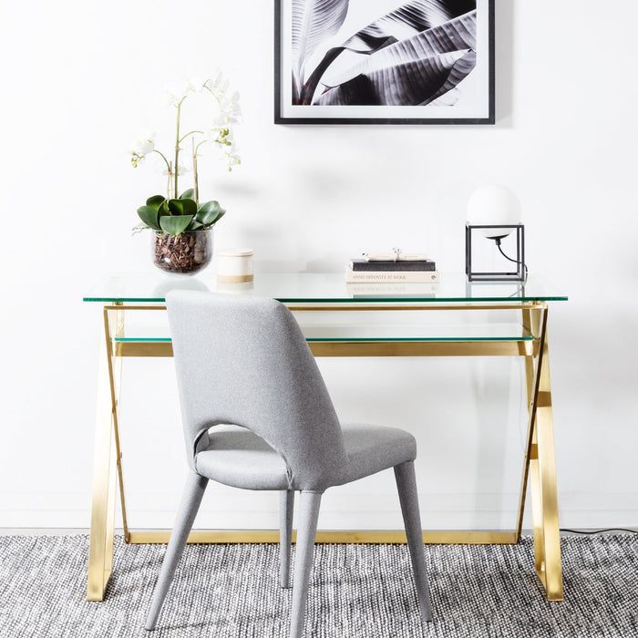 Vanessa 120cm Glass Home Office Desk - Brushed Gold Base