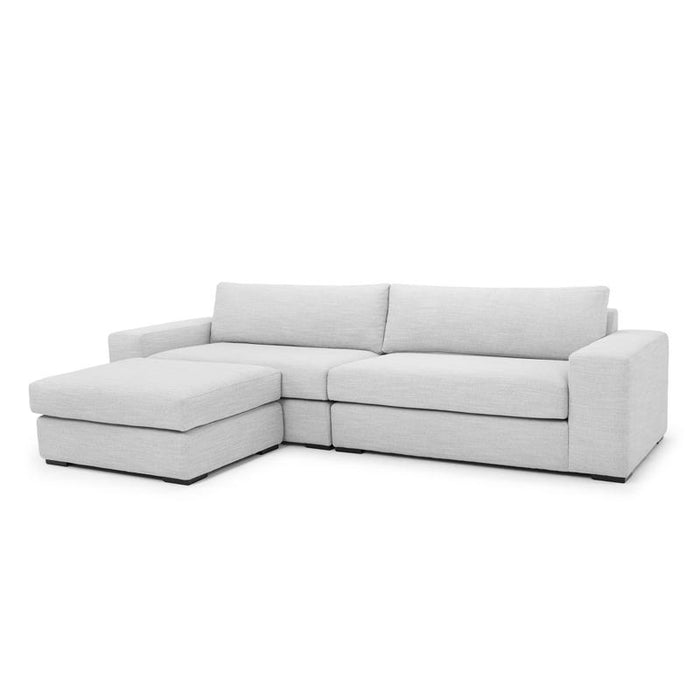 Vera 4 Seater Sofa with Movable Chaise - Light Texture Grey
