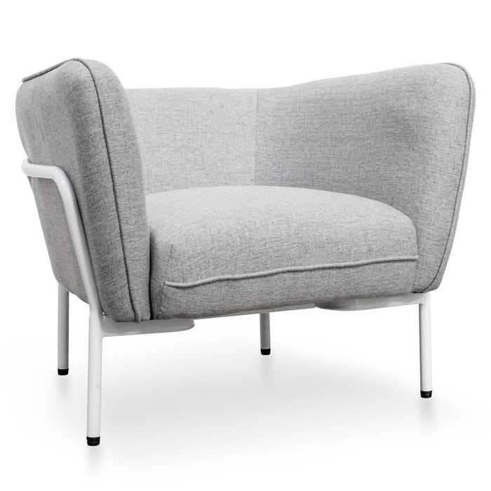 Vilma Fabric Lounge Chair - Grey - White Base