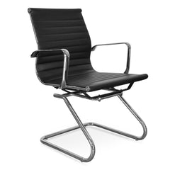 Visitor PU Leather Office Chair - Eames Inspired - Black