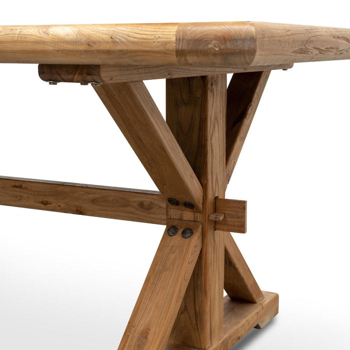 Winston Reclaimed Elm Wood 2.4m Dining Table - Rustic Natural