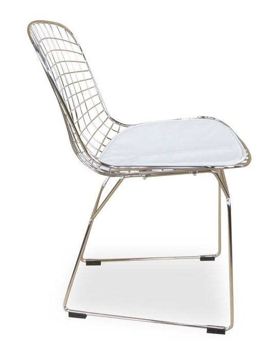 Wire Side Dining Chair - Harry Bertoia Replica - White