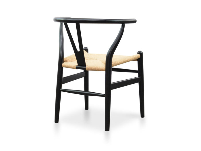 Wishbone Cord Dining Chair - Black - Natural Seat
