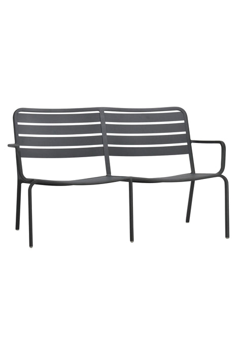 Zeke Outdoor Metal Bench Seat - Charcoal