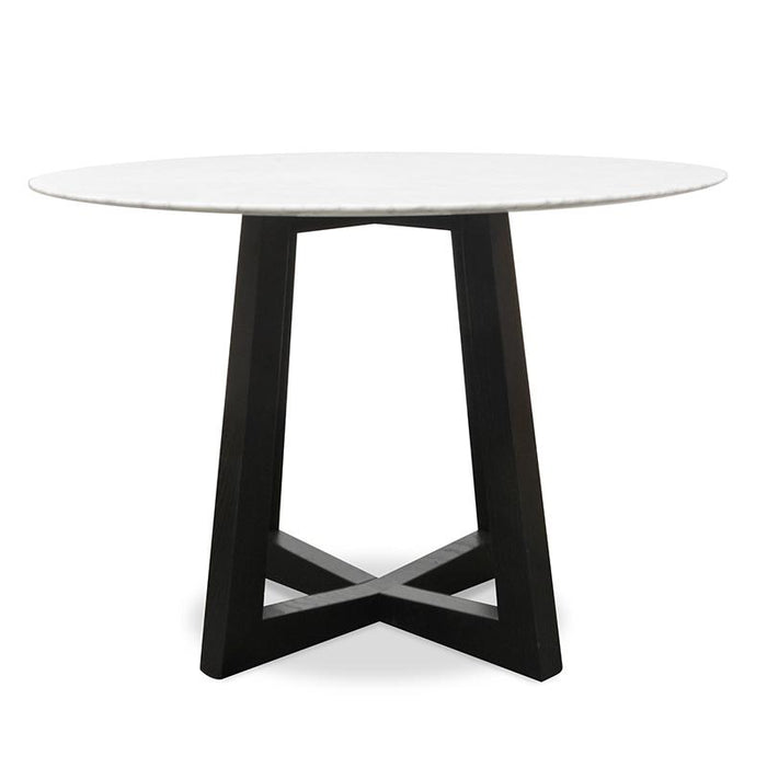 Zodiac 1.15m Round marble Dining Table - Black Base