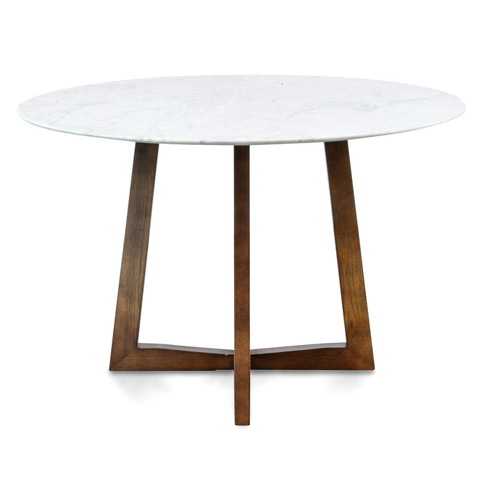 Zodiac 1.15m Round marble Dining Table - Dark Brown Base