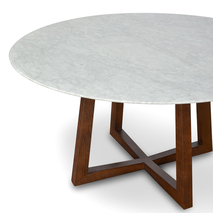 Zodiac 1.5m Round  Marble  Dining Table - Dark Brown Base
