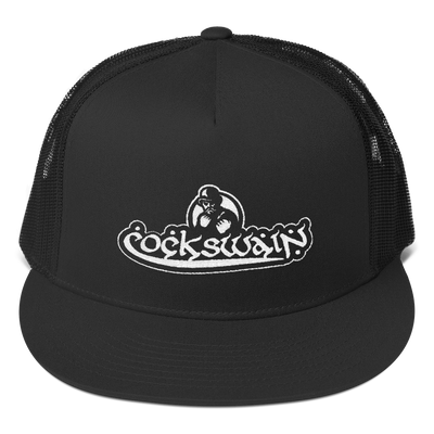Cockswain Yupoong Flat Bill Trucker Cap with White Logo