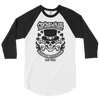 Cockswain 2019 St. Patrick's Day Weekend Tour 3/4 Sleeve Raglan Shirt in White with Black Logo