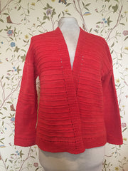 """coral colored cardigan """"Holey Comfort"""""""