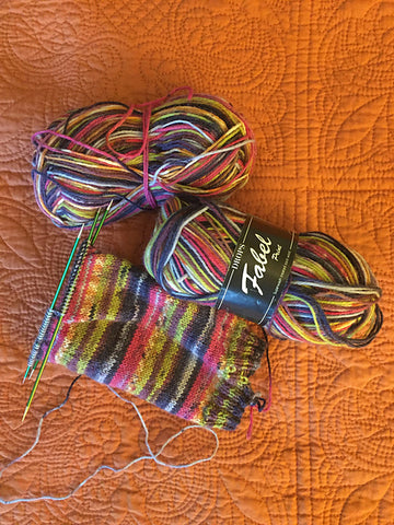 partly finished hand knit sock