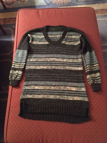 Finished green and teal striped pullover