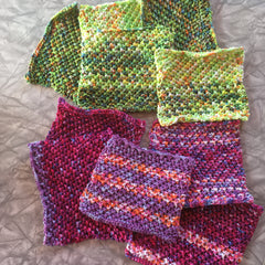 Assortment of ten purple and lime green dishcloths