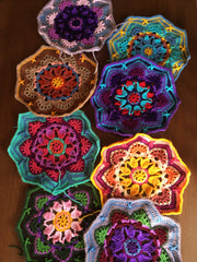 assorted crocheted octagons in bright colors