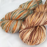 two skeins of variegated brown. One with orange and one with orange and teal.