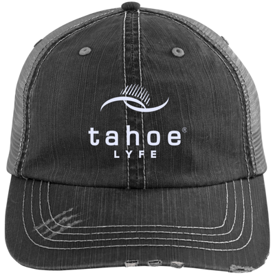 Tahoe Lyfe Modern White Logo Distressed Unstructured Trucker Cap