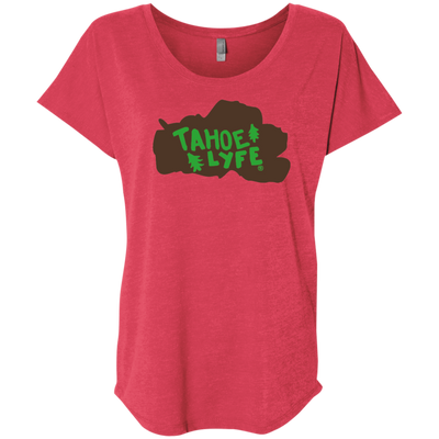 Tahoe Lyfe Brown Lake Logo Ladies' Triblend Dolman Sleeve in 11 Colors