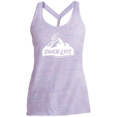 Tahoe Lyfe White Mountain Logo Ladies Cosmic Twist Back Tank