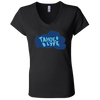 Tahoe Lyfe Solid Blue Logo Bella + Canvas Ladies' Jersey V-Neck T-Shirt in 5 Colors