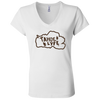 Tahoe Lyfe Brown Logo Bella + Canvas Ladies' Jersey V-Neck T-Shirt