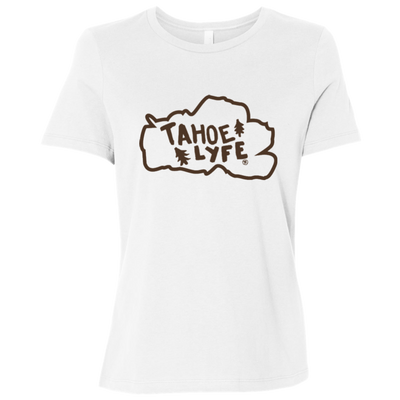 Tahoe Lyfe Brown Logo Bella + Canvas Ladies' Relaxed Jersey Short-Sleeve T-Shirt in 3 Colors