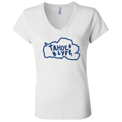 Tahoe Lyfe Blue Logo Bella + Canvas Ladies' Jersey V-Neck T-Shirt in 2 Colors