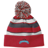 Ribbon Logo Striped Beanie with Pom