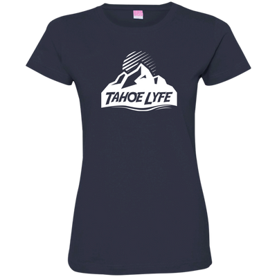 Tahoe Lyfe White Mountain Logo Ladies' Fine Jersey T-Shirt