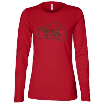 Tahoe Lyfe Brown Logo Bella + Canvas Ladies' Jersey Long Sleeve Missy Fit in 2 Colors