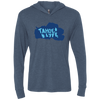 Tahoe Lyfe Solid Blue Lake Unisex Triblend LS Hooded T-Shirt in 12 Colors