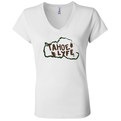 Tahoe Lyfe Rustic Bella + Canvas Ladies' Jersey V-Neck T-Shirt