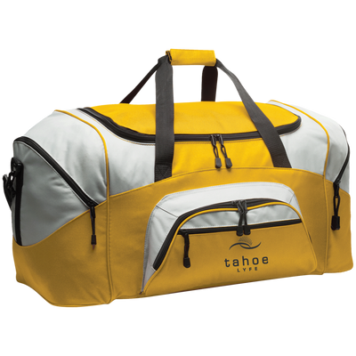 Tahoe Lyfe Modern Black Logo Port & Co. Colorblock Sport Duffel