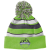 Mountain Shield Logo Striped Beanie with Pom