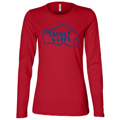 Tahoe Lyfe Blue Logo Bella + Canvas Ladies' Jersey Long Sleeve Missy Fit in 2 Colors