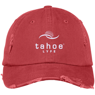 Tahoe Lyfe Modern White Logo District Distressed Dad Cap