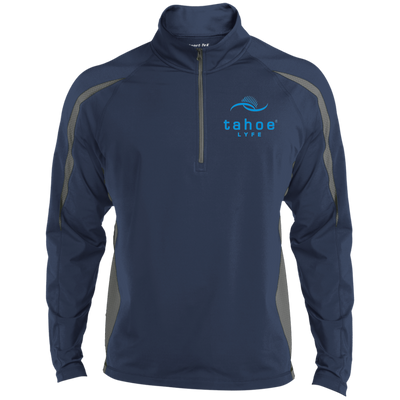 Tahoe Lyfe Modern Blue Logo Sport-Tek Men's Sport Wicking Colorblock 1/2 Zip