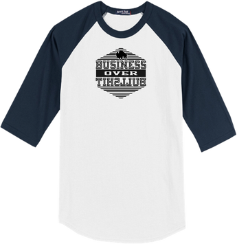 Business Over Bullshit Wht/Nvy Raglan