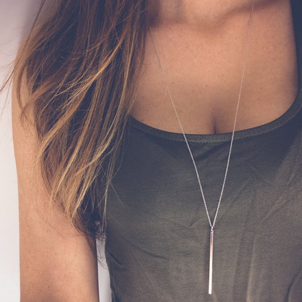 Simple Silver Gold Lariat Charm Pendant