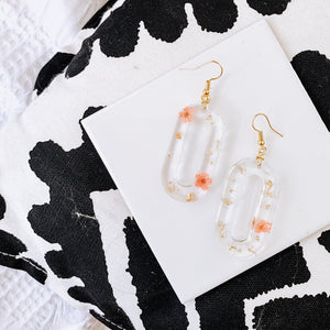 Floral - Round Rectangle Resin Earrings