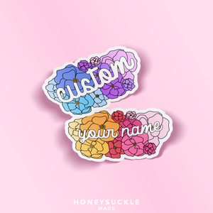 Custom Name Floral Vinyl Die Cut Sticker