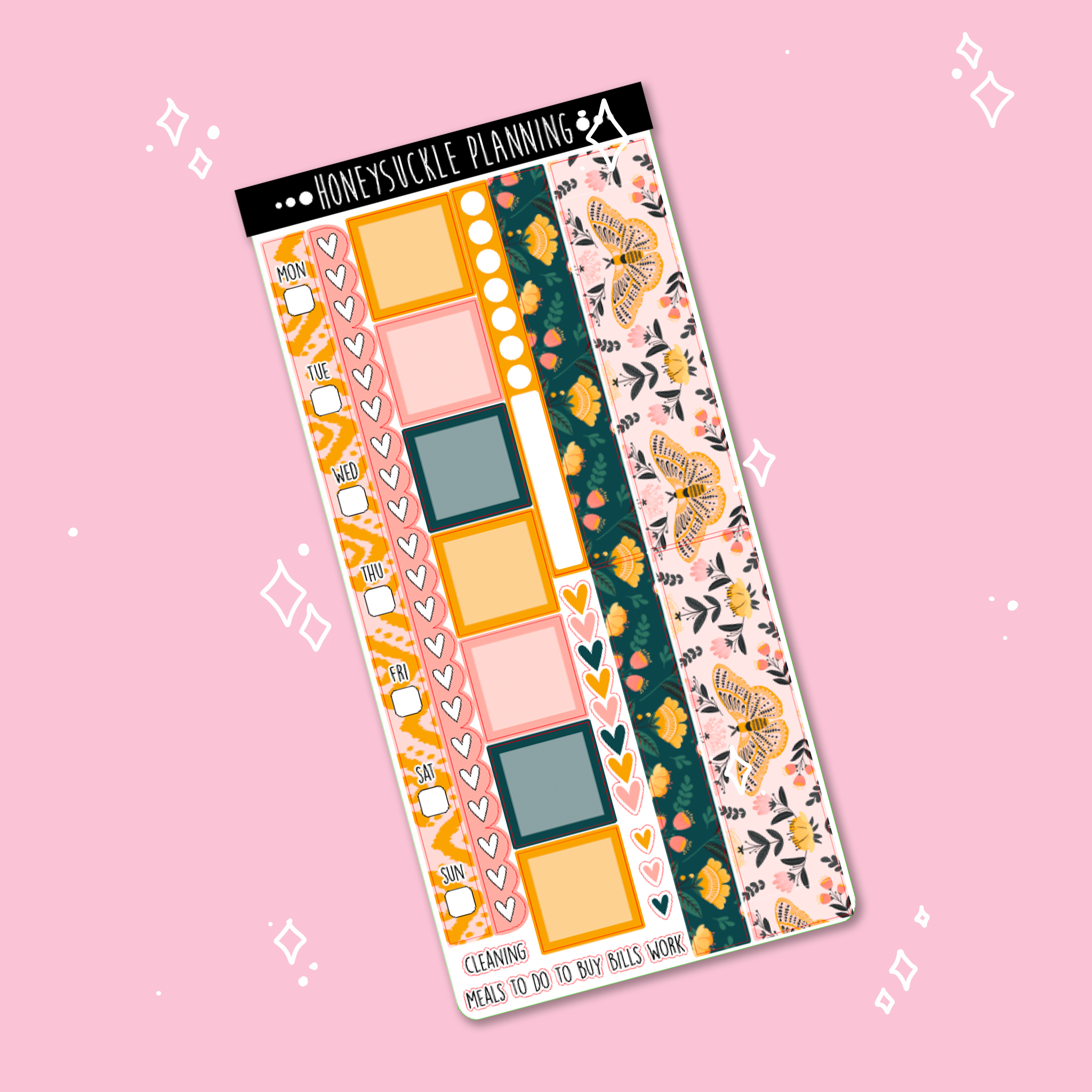Boho Moth Hobonichi Weekly Sticker Kit