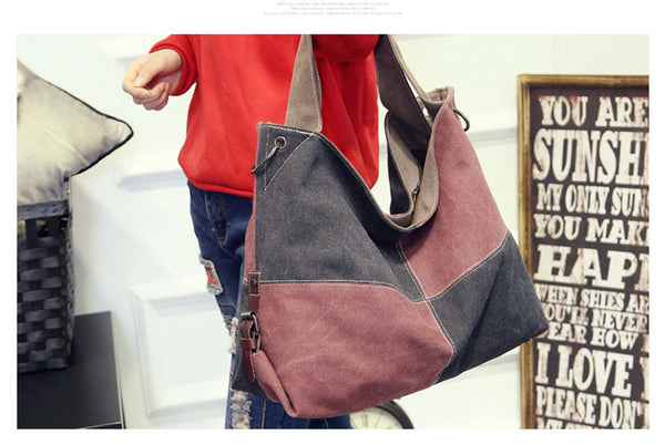 Canvas Patchwork Messenger Shoulder Bag - Red Deer Store
